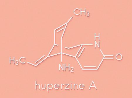 Huperzine A alkaloid molecule. Skeletal formula.