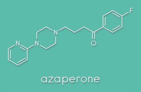 Azaperone antipsychotic drug molecule. Skeletal formula.