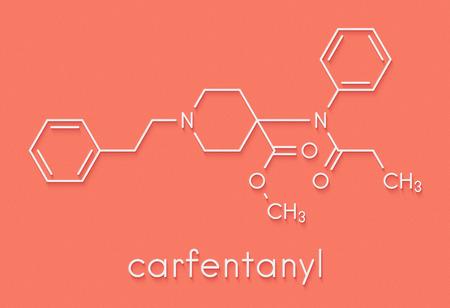 Carfentanil (carfentanyl) synthetic opioid drug molecule. Skeletal formula.