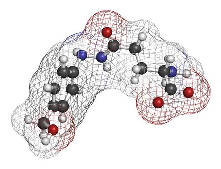 Agaritine mushroom toxin molecule. 3D rendering. Atoms are represented as spheres with conventional color coding: hydrogen (white), carbon (grey), oxygen (red), nitrogen (blue).