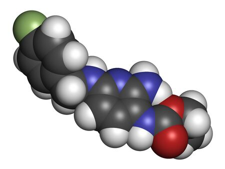 Flupirtine analgesic drug molecule. 3D rendering. Atoms are represented as spheres with conventional color coding: hydrogen (white), carbon (grey), nitrogen (blue), oxygen (red), fluorine (light green).