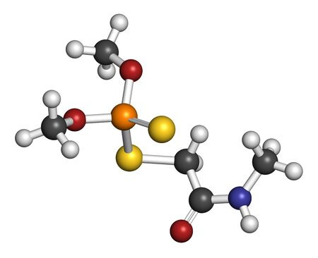 Dimethoate insecticide molecule. 3D rendering. Atoms are represented as spheres with conventional color coding: hydrogen (white), carbon (grey), oxygen (red), nitrogen (blue), phosphorus (orange), sulfur (yellow). Stock Photo