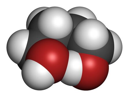 1,4-Butanediol solvent and recreational drug molecule. 3D rendering. Atoms are represented as spheres with conventional color coding: hydrogen (white), carbon (grey), oxygen (red). Stock fotó