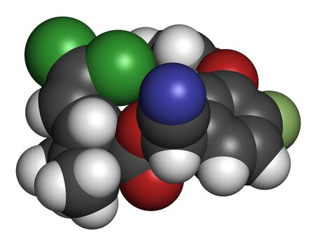 Cyfluthrin insecticide molecule. 3D rendering. Atoms are represented as spheres with conventional color coding: hydrogen (white), carbon (grey), oxygen (red), nitrogen (blue), chlorine (green), fluorine (light green).