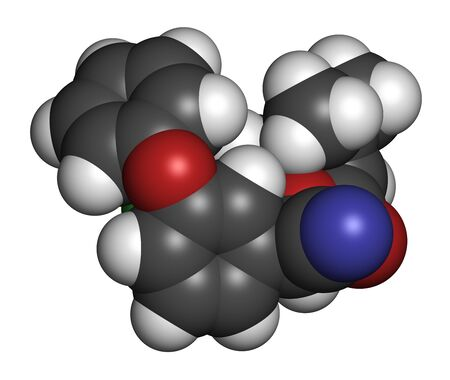 Cypermethrin insecticide molecule. 3D rendering. Atoms are represented as spheres with conventional color coding: hydrogen (white), carbon (grey), oxygen (red), nitrogen (blue), chlorine (green).