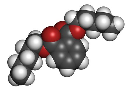 Di-n-pentyl phthalate (DNPP) plasticizer molecule. 3D rendering. Atoms are represented as spheres with conventional color coding: hydrogen (white), carbon (grey), oxygen (red).