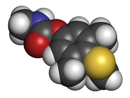 Methiocarb pesticide molecule. 3D rendering. Atoms are represented as spheres with conventional color coding: hydrogen (white), carbon (grey), oxygen (red), nitrogen (blue), sulfur (yellow). Stock Photo