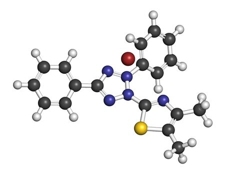 MTT yellow tetrazole dye molecule. Used in MTT assay, used to measure cytotoxicity and cell metabolic activity.  3D rendering. Atoms are represented as spheres with conventional color coding: hydrogen (white), carbon (grey), oxygen (red), nitrogen (blue), sulfur (yellow), bromine (brown).