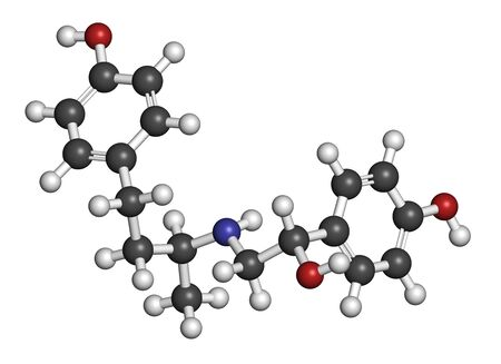 Ractopamine feed additive molecule. 3D rendering. Atoms are represented as spheres with conventional color coding: hydrogen (white), carbon (grey), oxygen (red), nitrogen (blue).