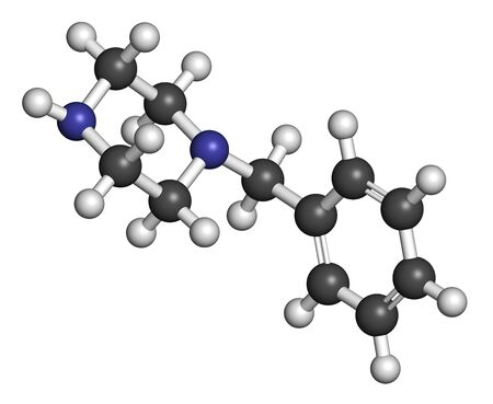 Benzylpiperazine (BZP) recreational drug molecule. 3D rendering. Atoms are represented as spheres with conventional color coding: hydrogen (white), carbon (grey), nitrogen (blue).