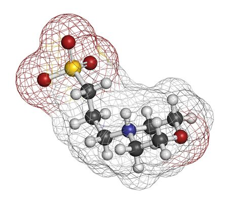 MOPS buffering agent molecule. 3D rendering. Atoms are represented as spheres with conventional color coding: hydrogen (white), carbon (grey), oxygen (red), nitrogen (blue), sulfur (yellow). Stock Photo