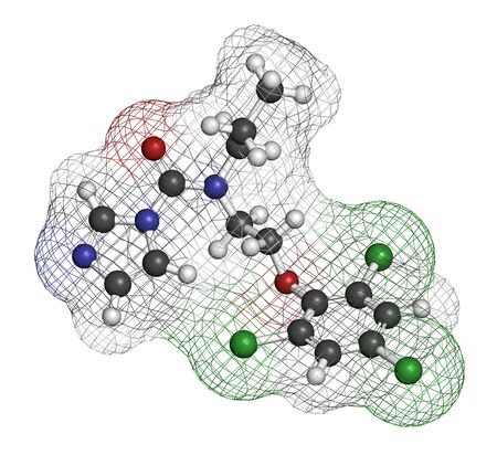 Prochloraz fungicide molecule. 3D rendering. Atoms are represented as spheres with conventional color coding: hydrogen (white), carbon (grey), oxygen (red), nitrogen (blue), chlorine (green).