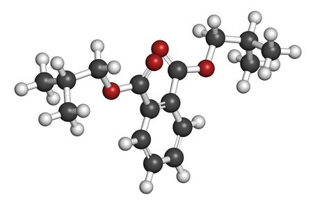 Diisobutyl phthalate (DIBP) plasticizer molecule. 3D rendering. Atoms are represented as spheres with conventional color coding: hydrogen (white), carbon (grey), oxygen (red).