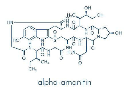Alpha-amanitin death cap toxin molecule. Present in many Amanita mushrooms. Skeletal formula.