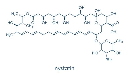 Nystatin antifungal drug molecule. Used in treatment of Candida infections. Skeletal formula.