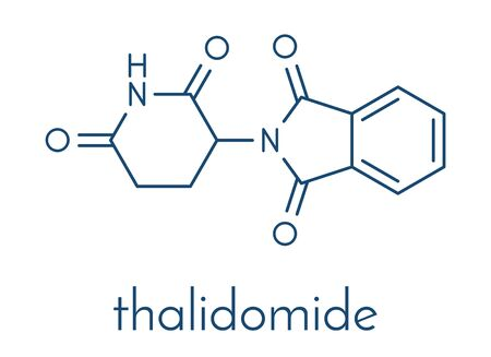 Thalidomide teratogenic drug molecule. Initially used as antiemetic to treat morning sickness in pregnant women but found to cause serious birth defects. Still used in treatment of multiple myeloma. Skeletal formula. 일러스트