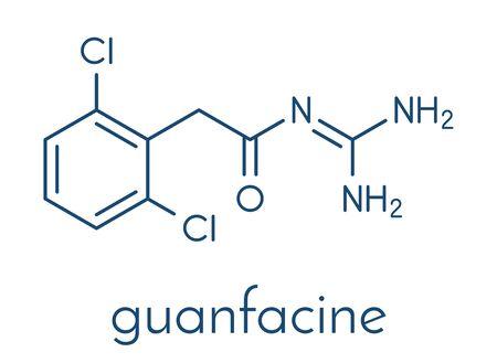 Guanfacine ADHD drug molecule. Skeletal formula.