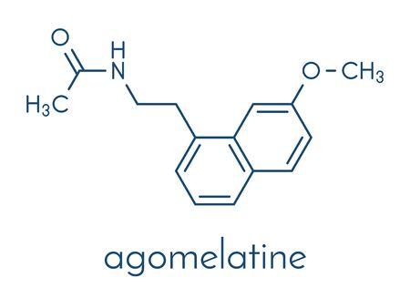 Agomelatine antidepressant drug molecule. Skeletal formula.