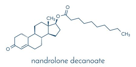 Nandrolone decanoate anabolic steroid drug molecule. Also used in sports doping. Skeletal formula.