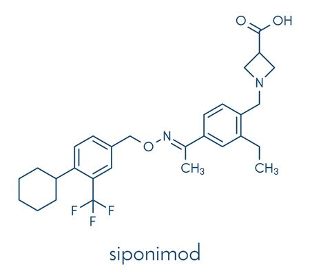 Siponimod anti-inflammatory drug molecule (S1PR1 modulator). Skeletal formula.