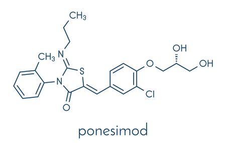 Ponesimod anti-inflammatory drug molecule (S1PR1 modulator). Skeletal formula. Illustration
