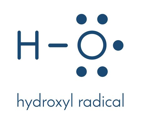 Hydroxyl radical. Used by macrophages (immune cells) to destroy pathogens. Skeletal formula. 向量圖像
