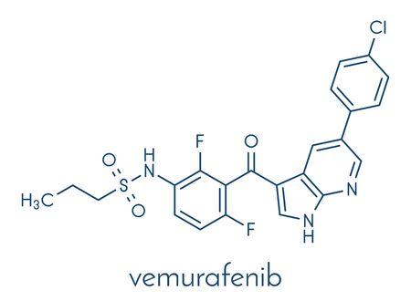 Vemurafenib melanoma drug molecule. Skeletal formula.