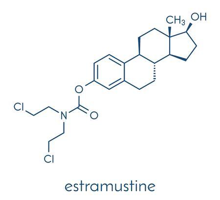 Estramustine prostate cancer chemotherapy drug molecule. Skeletal formula.