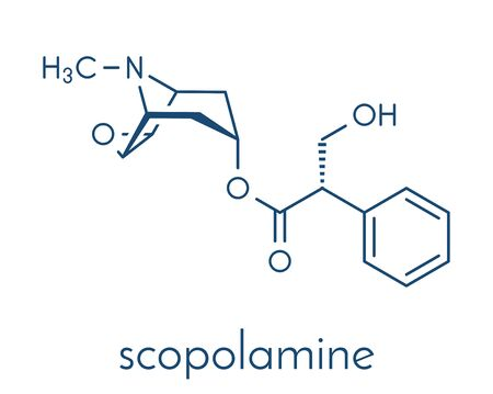 Scopolamine (hyoscine) anticholinergic drug molecule. Used in treatment of nausea, vomiting and motion sickness. Skeletal formula.  イラスト・ベクター素材