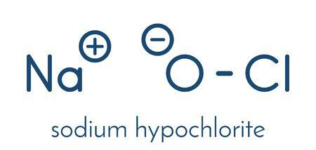 Sodium hypochlorite (NaOCl) molecule. Aqueous solution is known as (liquid) bleach. Skeletal formula.