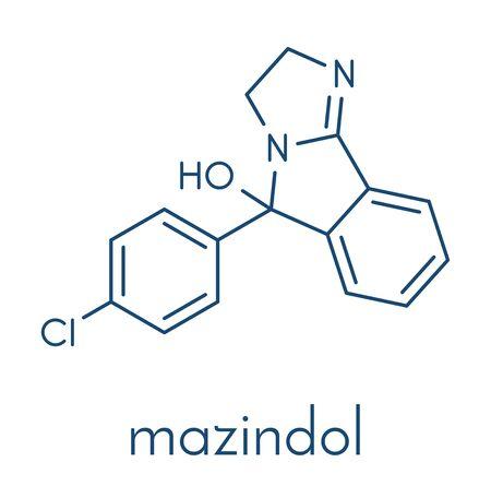 Mazindol appetite suppressant drug molecule. Skeletal formula.