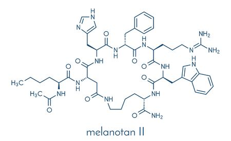 Melanotan II synthetic tanning drug molecule. Not approved as drug. Skeletal formula.