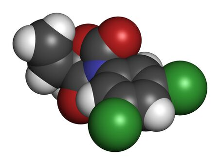 Vinclozolin fungicide molecule. 3D rendering. Atoms are represented as spheres with conventional color coding: hydrogen (white), carbon (grey), oxygen (red), nitrogen (blue), chlorine (green).
