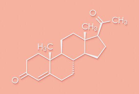 Progesterone female sex hormone molecule. Plays role in menstrual cycle and pregnancy. Skeletal formula.