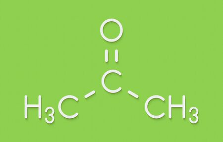 Acetone solvent molecule. Organic solvent used in nail polish remover. Skeletal formula.