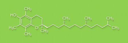 Vitamin E (alpha tocopherol) molecule. Skeletal formula. Zdjęcie Seryjne