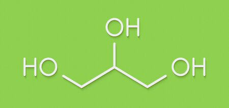 Glycerol (glycerin) molecule. Produced from fat and oil triglycerides. Used as sweetener, solvent and preservative in food and drugs. Skeletal formula. Foto de archivo