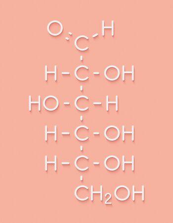 Glucose (D-glucose, dextrose) molécule de sucre de raisin. Formule squelettique.