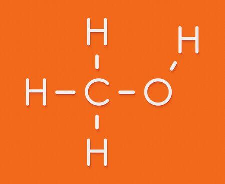 Methanol (methyl alcohol, MeOH) molecule. Highly toxic. Skeletal formula.
