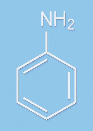 Aniline (phenylamine, aminobenzene) molecule. Skeletal formula.