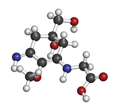 Palythine sunscreen molecule. 3D rendering. Atoms are represented as spheres with conventional color coding: hydrogen (white), carbon (grey), oxygen (red), nitrogen (blue).