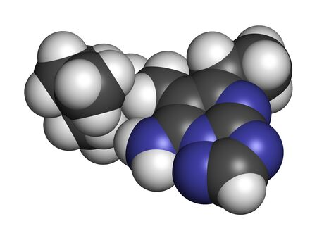 Ametoctradin fungicide molecule. 3D rendering. Atoms are represented as spheres with conventional color coding: hydrogen (white), carbon (grey), nitrogen (blue).