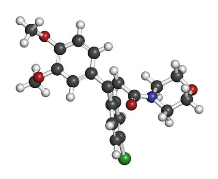Dimethomorph fungicide molecule. 3D rendering. Atoms are represented as spheres with conventional color coding: hydrogen (white), carbon (grey), oxygen (red), nitrogen (blue), chlorine (green).