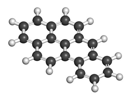 Benzo[a]pyrene (BaP) polycyclic aromatic hydrocarbon molecule. 3D rendering. Atoms are represented as spheres with conventional color coding: hydrogen (white), carbon (grey). 写真素材