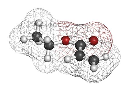 Ethyl acrylate molecule. 3D rendering. Atoms are represented as spheres with conventional color coding: hydrogen (white), carbon (grey), oxygen (red).