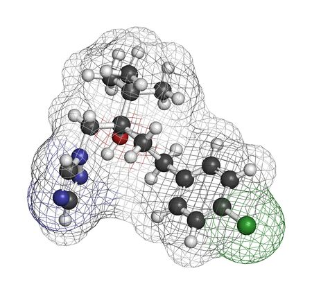 Tebuconazole fungicide molecule. 3D rendering. Atoms are represented as spheres with conventional color coding: hydrogen (white), carbon (grey), oxygen (red), nitrogen (blue), chlorine (green).