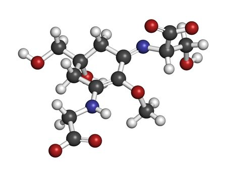 Shinorine sunscreen molecule. 3D rendering. Atoms are represented as spheres with conventional color coding: hydrogen (white), carbon (grey), oxygen (red), nitrogen (blue).