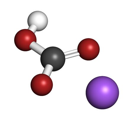 Sodium bicarbonate (baking soda), chemical structure. 3D rendering. Atoms are represented as spheres with conventional color coding: hydrogen (white), carbon (grey), oxygen (red), sodium (blue).
