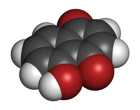 Juglone walnut molecule. 3D rendering. Atoms are represented as spheres with conventional color coding: hydrogen (white), carbon (grey), oxygen (red).