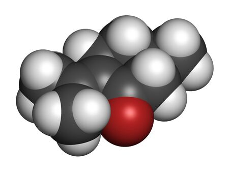Pulegone molecule. 3D rendering. Atoms are represented as spheres with conventional color coding: hydrogen (white), carbon (grey), oxygen (red).